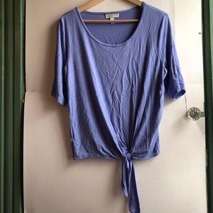 DANA BUCHMAN Purple Blue Short Sleeve Tie Knot Tee